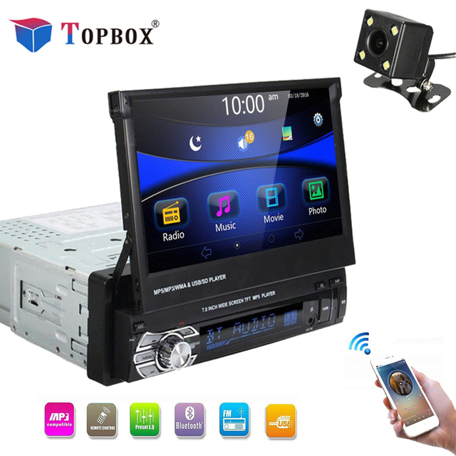 "Topbox Car Stereo audio Radio Bluetooth 1DIN 7"" HD Retractable Touch Screen Monitor DVD MP5 SD FM USB Player Rear View Camera"