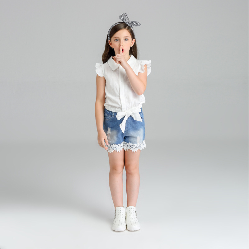 New Arrival 2017 Girls Shorts Set Hot Sale Summer Girls Denim Shorts 2 Pcs Girls Clothing Set Kids T-shirt & Shorts Set 2-8 year 2017 new summer denim jeans shorts men s casual fashion slim fit large size knee length outwear male shorts clothing men shorts