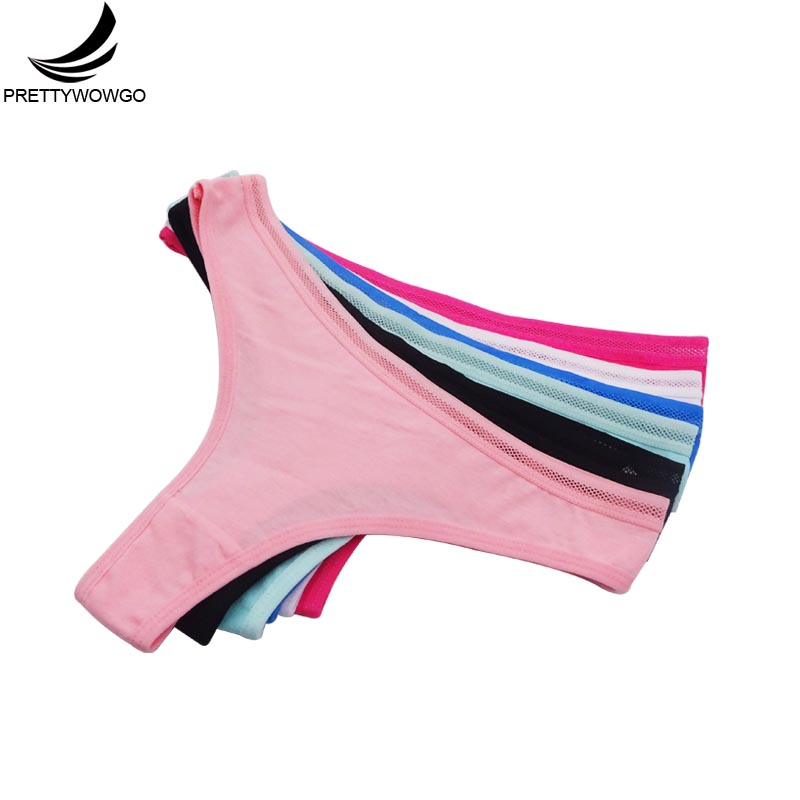 Prettywowgo 6 Pcs New Arrival 2019 Ladies Panties Women Cotton Solid Color Sexy G String Thong 7372