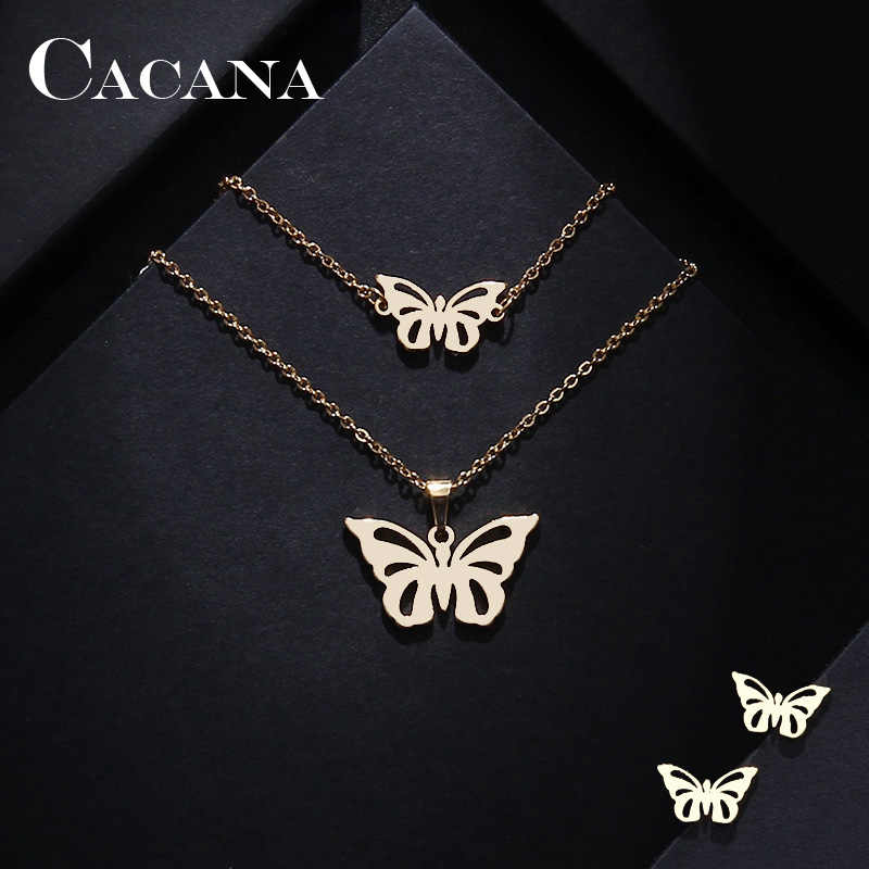 CACANA Stainless Steel Sets For Women Butterfly Shape Necklace Bracelet Earring Jewelry Lover's Engagement Jewelry S49