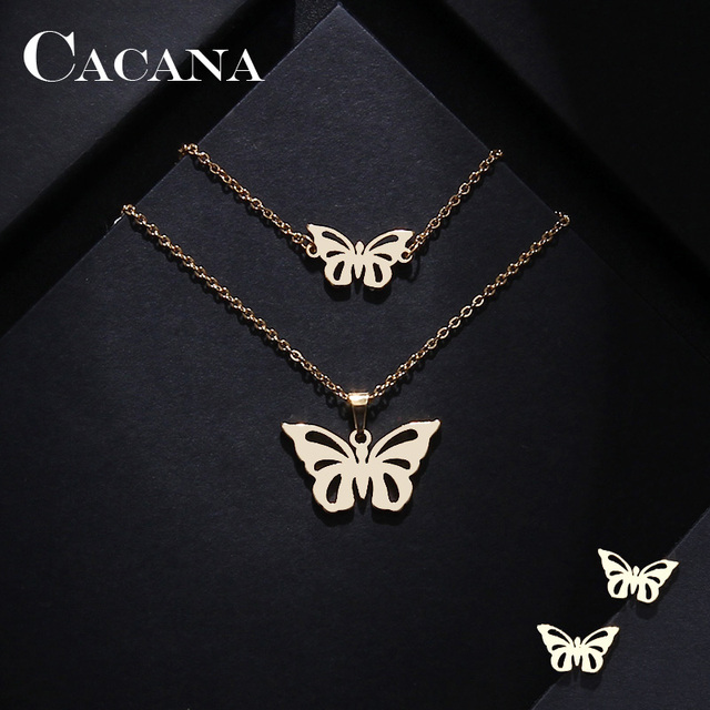 CACANA Stainless Steel Sets For Women Butterfly Shape Necklace Bracelet Earring