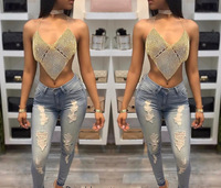Free Shipping New Women Tank Top Sexy V Neck Black Halter Backless Loose Crop Long Sleeved