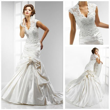 MMS380 Magnificant Ruched A-Line V-Neck Lace High Collar Lace Top Wedding  Dress 2012 c8259631c