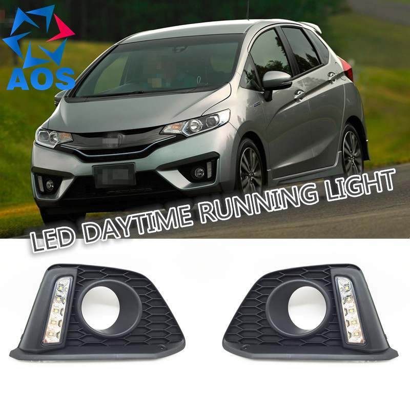 Car styling turn off and dimming style relay LED DRL Daytime Running Lights for Honda FIT 2014 2015 free shipping
