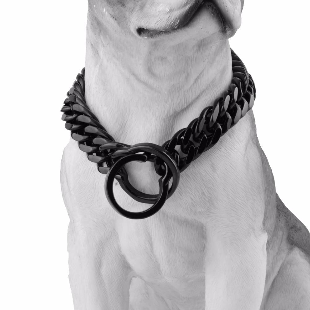 Personnalité 16/18mm de large couleur noire Double bordure lien cubain en acier inoxydable chaîne de chien formation collier de collier de starter collier