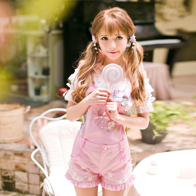 Princesa lolita dulce de Caramelo pantalones de lluvia nuevo verano de estilo Japonés dulce rosa overoles refrescante cortocircuitos del ocio C16AB6107