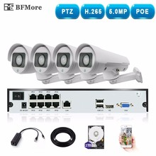 BFMore H.265 PTZ 4.0MP POE 4CH NVR Kit CCTV System IP Camera 5-50mm 10X IP66 Outdoor Weatherproof Video Security Surveillance