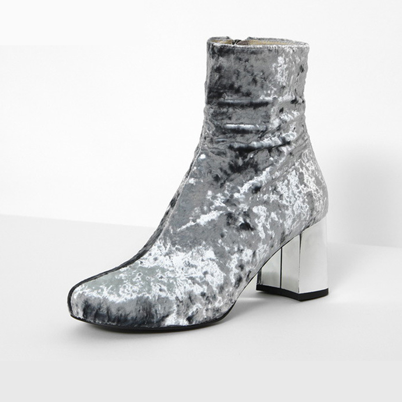 dwayne Teahoo Fashion Chunky Heel Ankle Boots for Women Velvet Boots Zipper Round Toe Ankle Booties Spring Autumn Dress Shoes Wo ankle shoes autumn booties 2017 strange front lace up casual boots chunky round toe fetish platform white ladies chinese fashion