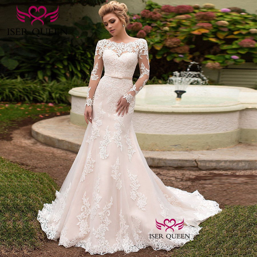 French Illusion Long Sleeves Vintage Lace Mermaid Wedding Dress Vestido De Novia Lace Up Champagne Color Wedding Dresses  W0616