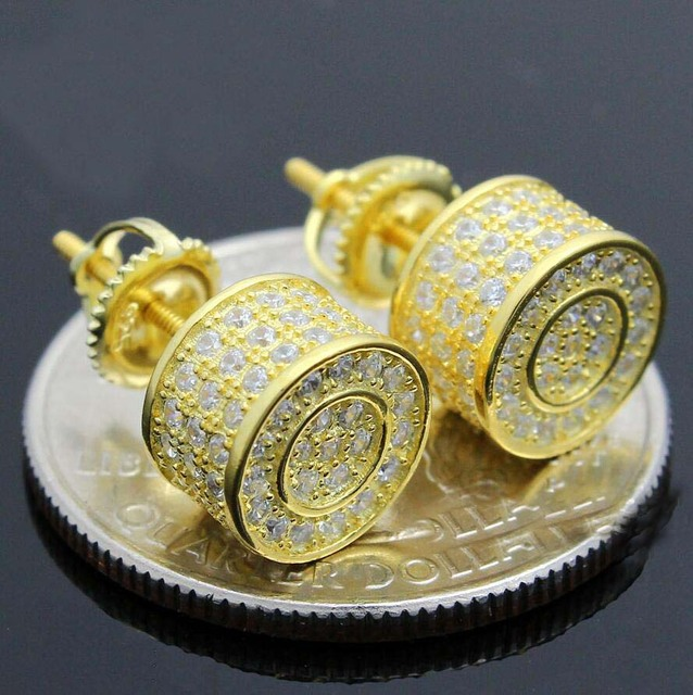 bbdb6b839 2017 men women fashion ear jewelry micro pave cz gold filled screwback hip  hop bling round