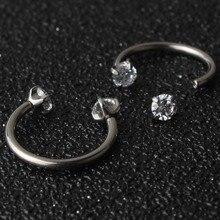 Tytanu G23 ciało biżuteria nos Piercing sutek pierścień 16g pierścień do brwi kryształowy kamień kolczyk chrząstka stadniny pierścienie