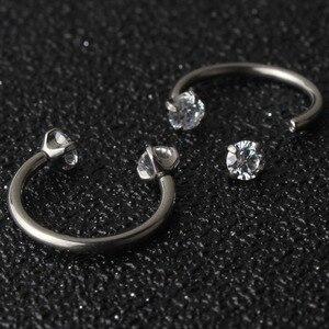 Image 1 - Tytanu G23 ciało biżuteria nos Piercing sutek pierścień 16g pierścień do brwi kryształowy kamień kolczyk chrząstka stadniny pierścienie