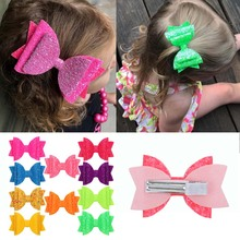 3''Neon Hairbows For Girls Colorful Glitter Three Layers Swallowtail Hair Clips Neon Color Mini Hairpins Party Hair Accessories