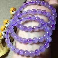 Wholesale 7 5mm Beautiful Natural Lavender Quartz Rutilated Bracelets Healing Reiki Women Charming Fashion Jewelry
