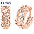 Almei Jóias Sterling Sliver com Simulado Diamante Zircão Brinco Rose Banhado A Ouro Brincos de Cristal Do Parafuso Prisioneiro para As Mulheres Aretes R320