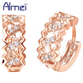 Almei Jewelry Sterling Sliver with Simulated Diamond Zircon Earring Rose Gold Plated Crystal Stud Earrings for Women Aretes R320