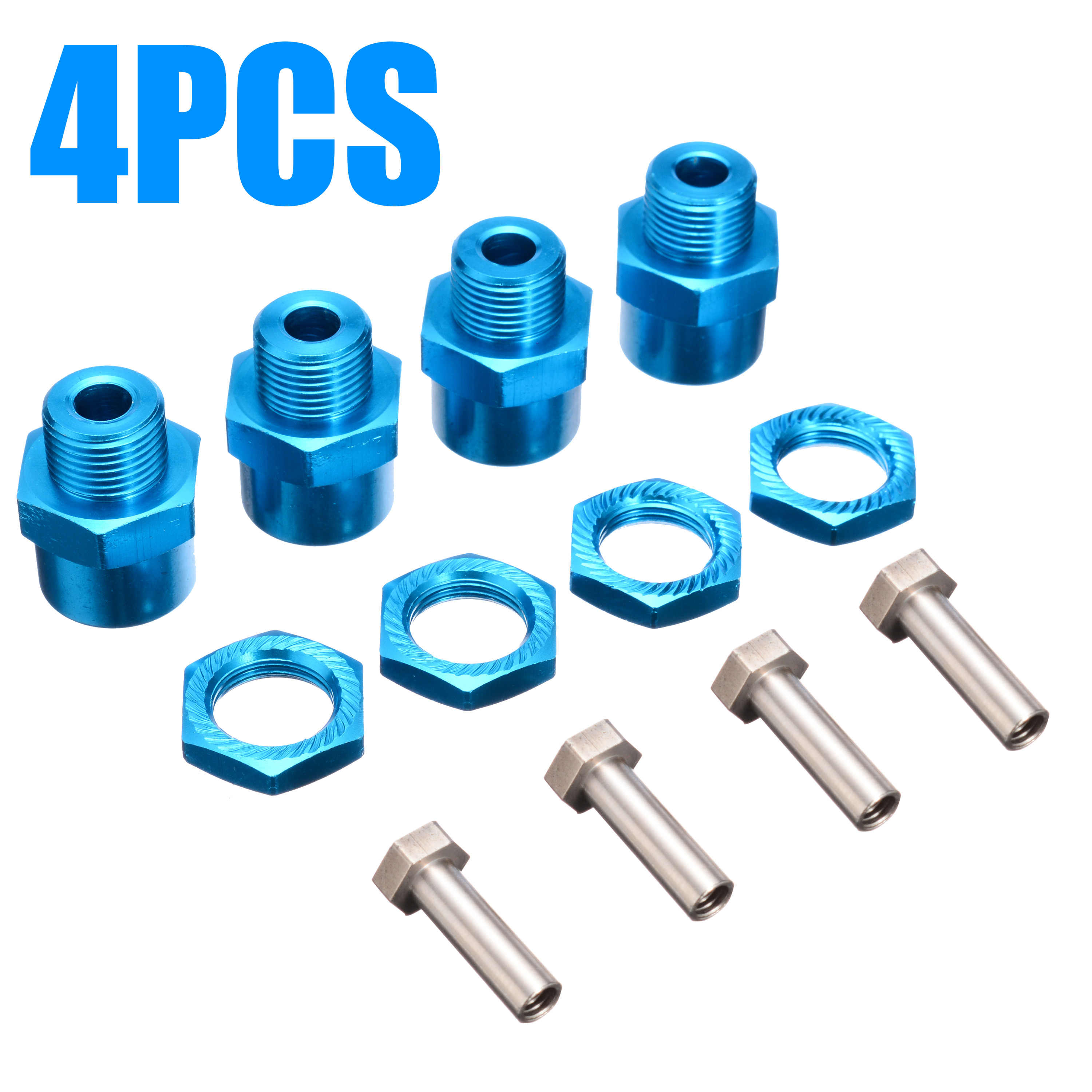 4-Pack 12mm to 17mm Wheel Hex Hub Adapter Extension Conversion 15mm Offset Extension for 1//10 RC Car Upgrade 1//8 Tires red