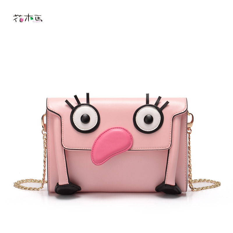 ФОТО HuMuMa PU leather crossbody bag Women's handbag chain bags 2016 cartoon personality Mini-bag messenger bag