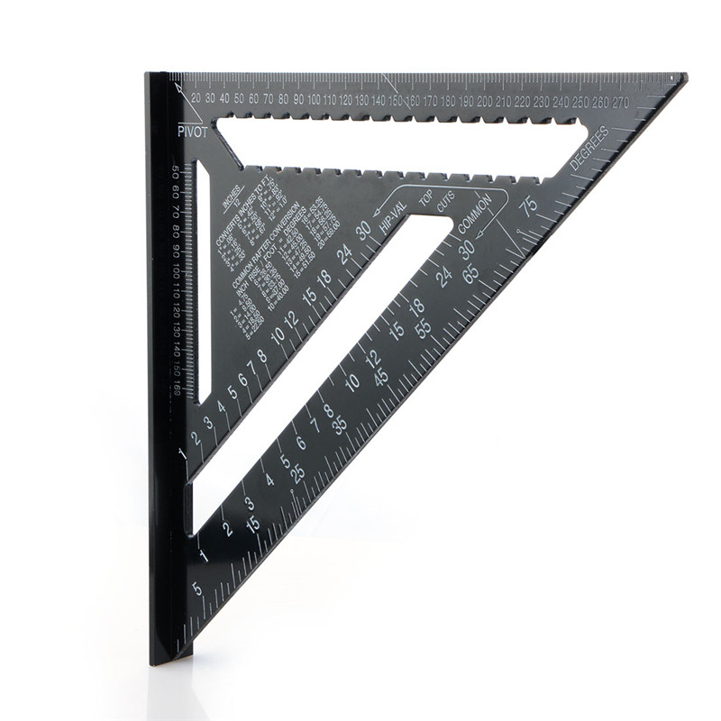 12 Inch Triangle Ruler 90 Degree Aluminum Alloy Measure Speed Square Roofing Triangle Measurement Carpenter Rule Black