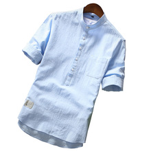 2019 여름 브랜드 셔츠 남성 패션 반소매 셔츠 코튼 통기성 셔츠 남성용 대형 하와이 셔츠 Chemise Homme