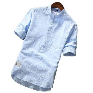 Image 1 - 2019 été marque Chemise hommes mode demi manches Chemise coton respirant Chemise hommes grande taille hawaïenne Chemise Homme