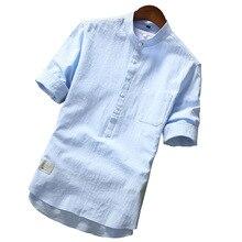 Camisa de marca de verano 2019 para hombre, camisa transpirable de algodón a la moda para Camisa de media manga, camisa hawaiana de talla grande para hombre