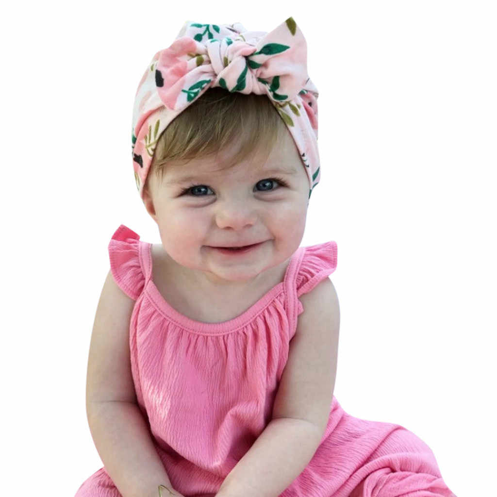 b90c2f48ab8d3 Turban Hat Baby Flower Bowknot Cap Infant Girls Summer Hats Hospital Soft  Cotton Toddler Knit Newborn Baby Photo Props 19Mar20