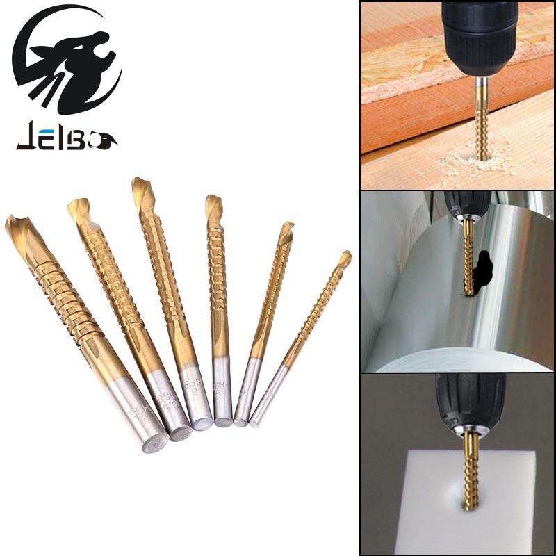 Jelbo 6Pcs Power Drill Saw Set HSS Steel Titanium Coated Woodworking Wood Twist Drill Bit 3mm 4mm 5mm 6mm 6.5mm 8mm Drill Bit mini twist drill bit saw set hss woodworking metal diy drilling tools titanium hexagonal shank 15pcs 3 4 5mm pcb drill bit