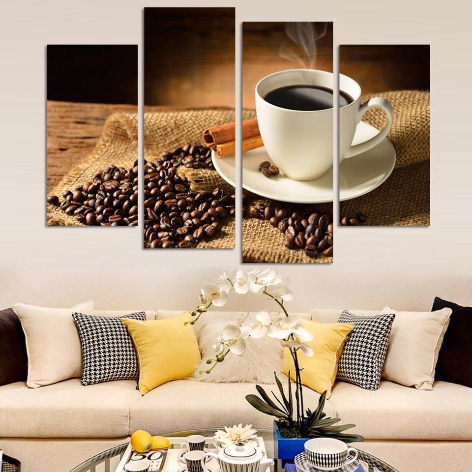 unids pintura de la lona de caf y los frijoles en el escritorio aceite de