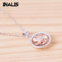 INALIS new fashion exquisite real 925 sterling silver handmade designer high jewelry CZ crystal round Windwill necklace pendant