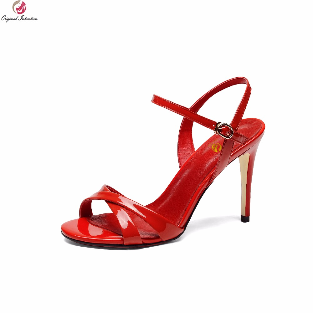 Original Intention New Women Sandals Cow Leather Open Toe Thin High Heels Fashion Pink Red Black Party Shoes Woman US Size 3-8.5 women high heels sandals fashion open toe thin heel sandal sweet party dress wedding shoes woman pumps size 35 42 smybk 104