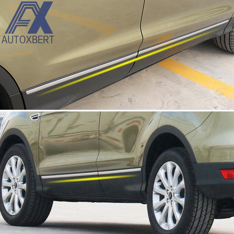 AX Car Styling Stainless Side Door Body Molding Chrome Trim Cover Strip Guard For Ford Escape
