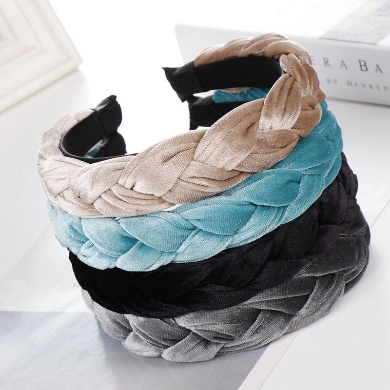 Wide Braided Velvet Hairband Solid Color Headbands For Women Hair Accessories Twist Hair Hoop