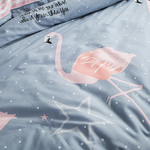 Fashion style Flamingo print bedding sets Twin/Single/Queen size 100%cotton duvet cover bedsheet pillowcase linen bedcover set