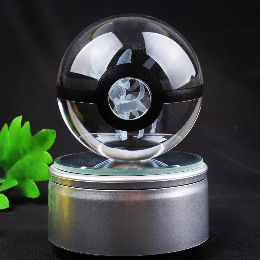 Free Shipping New Style Good Quality Sylveon Pokemon Ball With Engraving Crystal Ball With Led base With Gift Box