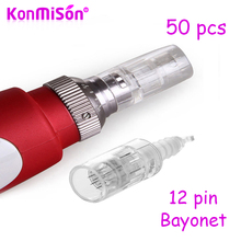 KONMISON 50pcs 12Pin Needle Derma Pen Bayonet Cartridge Needles For Electric Auto Microneedle Derma Pen Nano MYM Needles Tip