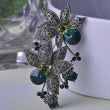 Blucome turco populares broche de plata antigua plateó la joyería verde doble flor ramillete broches de la vendimia pin up envío gratis