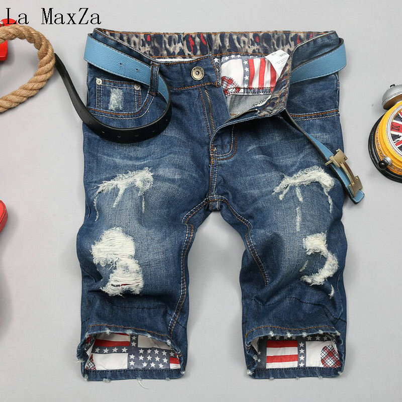 High Quality Ripped Denim Hole Short Men Jeans Straight Pants Men Jeans Trousers Homme