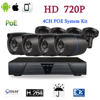 4CH CCTV Security IP Camera NVR System Support POE Kit Home Video Surveillance 4 Cameras 1