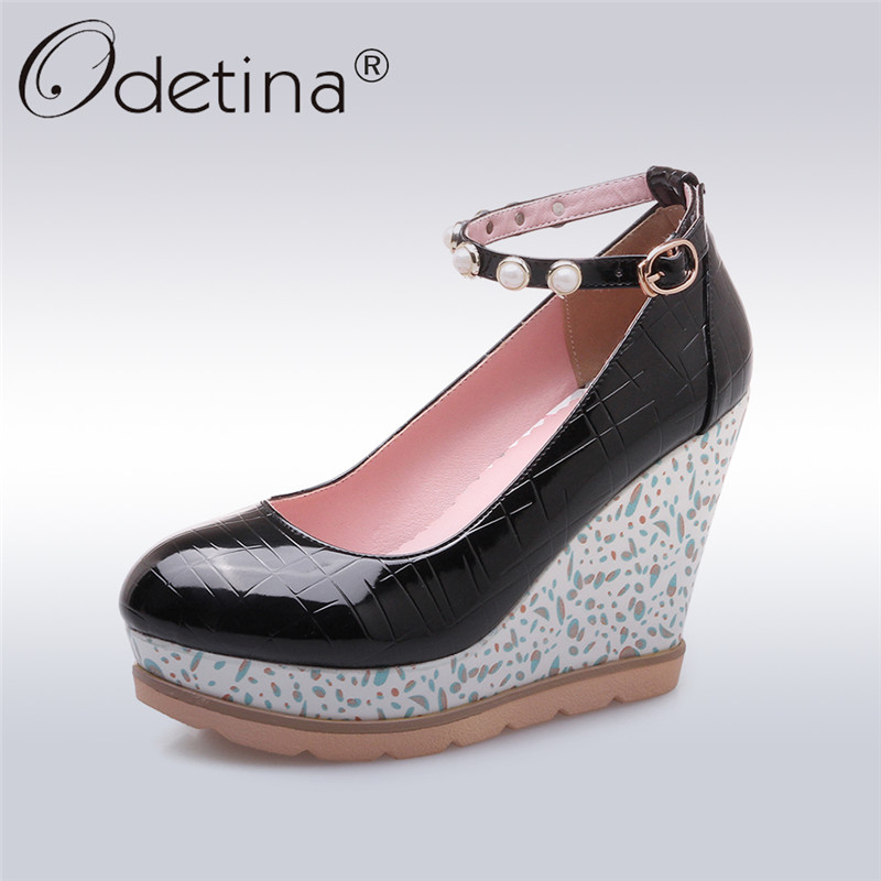Odetina 2018 New Fashion Women Wedges High Heels Pumps Ankle Strap Sweet Shoes Ladies Pearl Platform Round Toe Pumps Big Size 42 new luxury wedding shoes women high heels platform shoes woman round toe performance stage shoes beige pearl big size high pumps