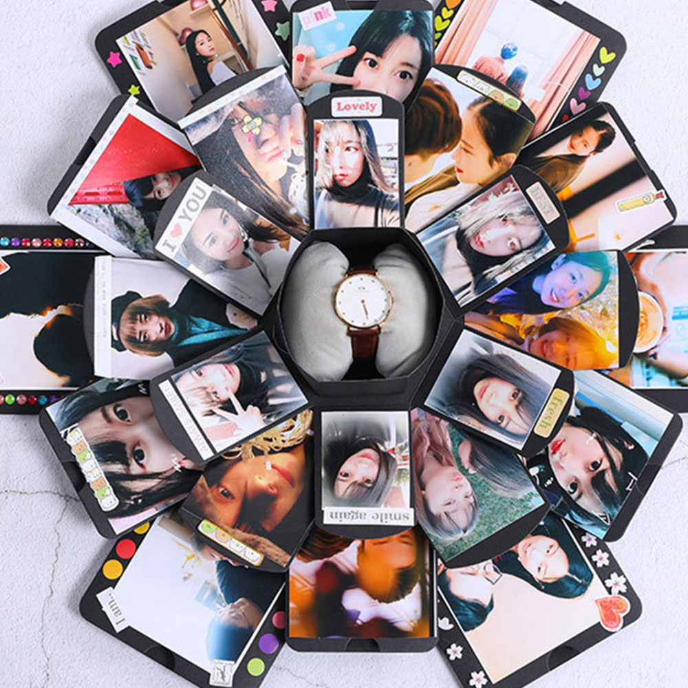 Boite a bombe hexagonale multicouche surprise confession Album de bricolage Scrapbook Album Photo anniversaire coffrets cadeaux