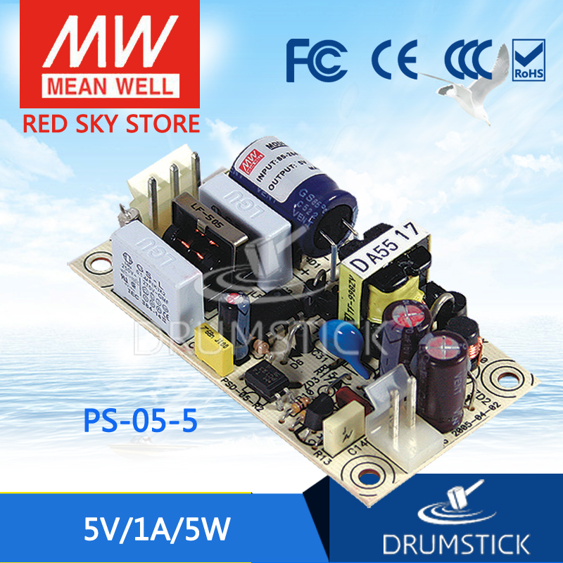 ФОТО Redsky [free-delivery 5Pcs] Hot! MEAN WELL original PS-05-5 5V 1A meanwell PS-05 5V 5W Single Output Switching Power Supply