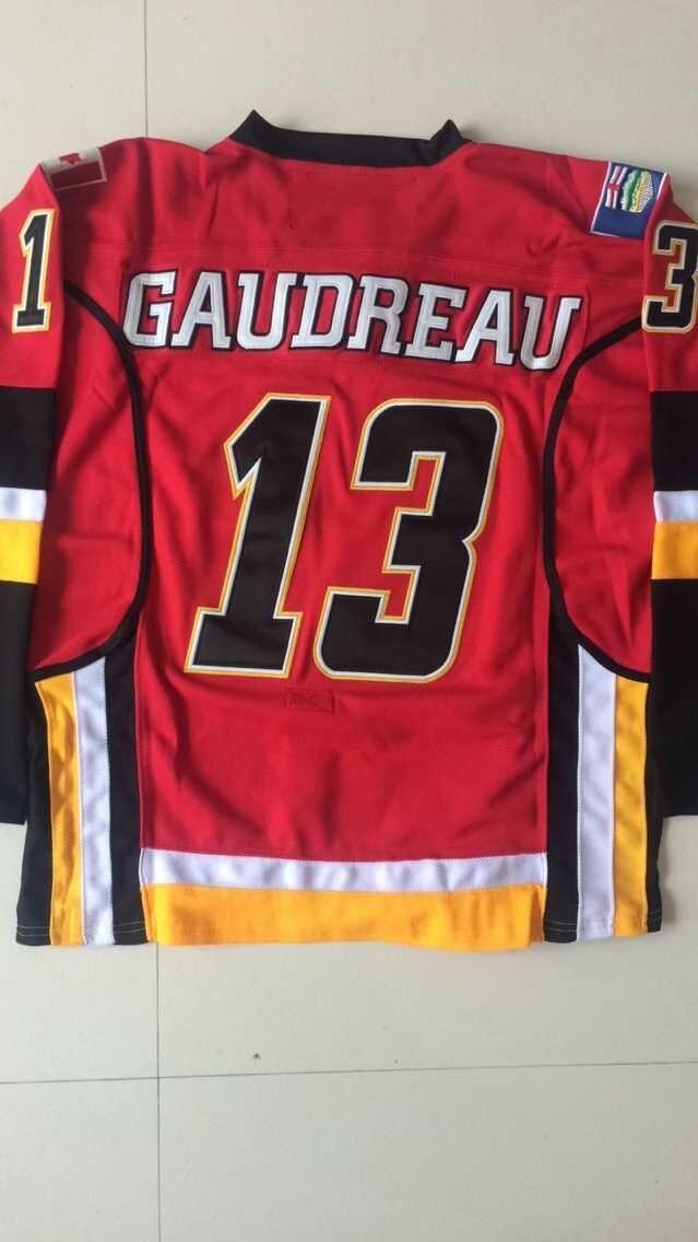 best website 3f0ce d4082 Cheap Mens Calgary Flames Hockey Jersey 13 Johnny Gaudreau ...