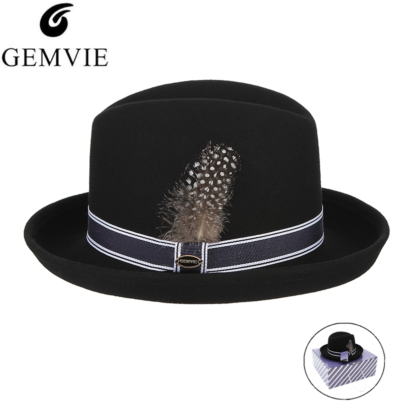 1ae5ba030e US $26.08 20% OFF|GEMVIE New Wool Fedoras Jazz Cap For Men Women Classical  Curved Narrow Brim Wool Felt Hat With Feather Gentleman Fedora Hats-in ...