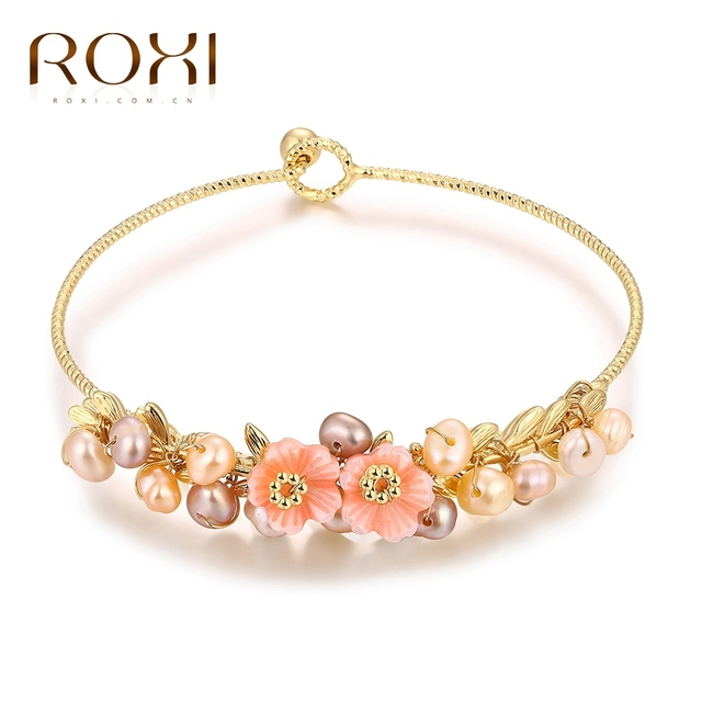 ROXI Brand Bracelet Elegant Rose Gold/Plated Bangles Hand Made Flowers Fashion Pearls Jewelry for Women