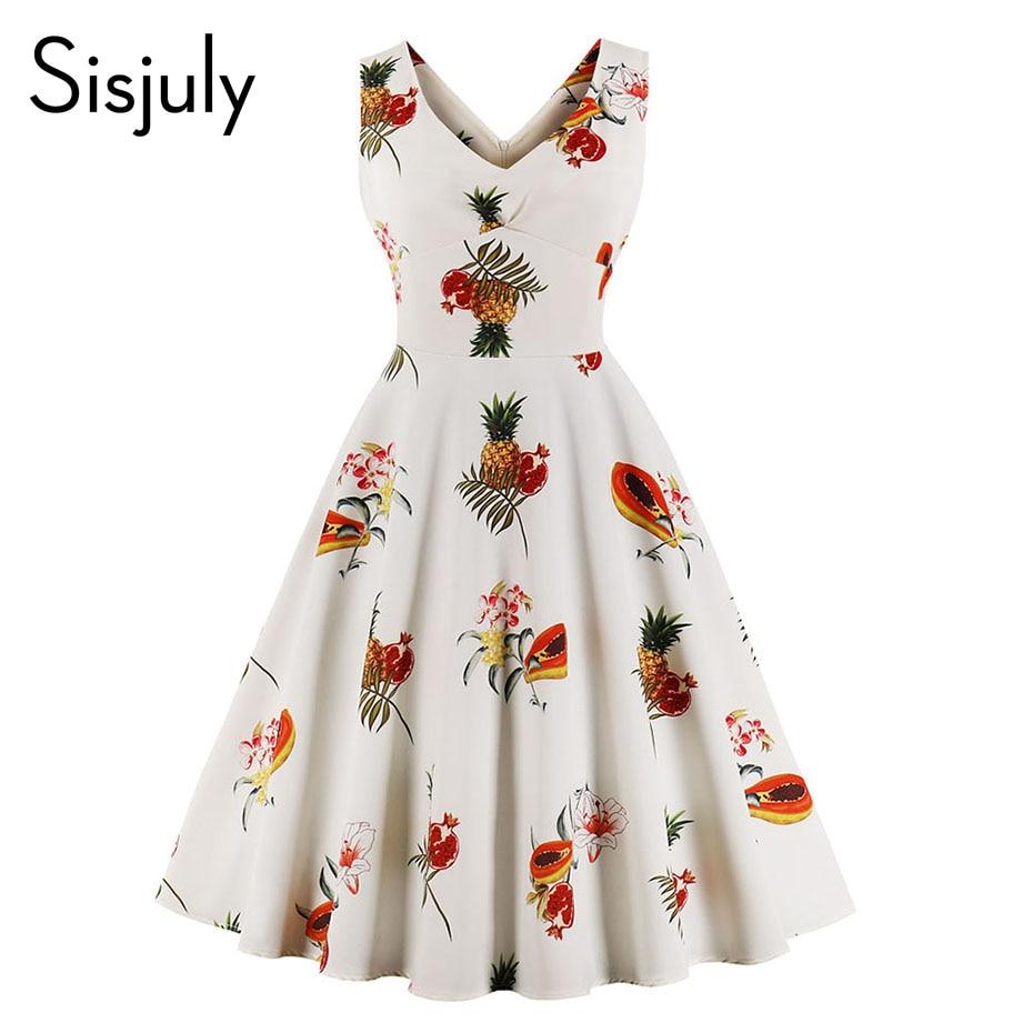 Sisjuly vintage women dresses print trumpet white print dress v neck plus 3xl 2018 summer casual chic short party dresses girls