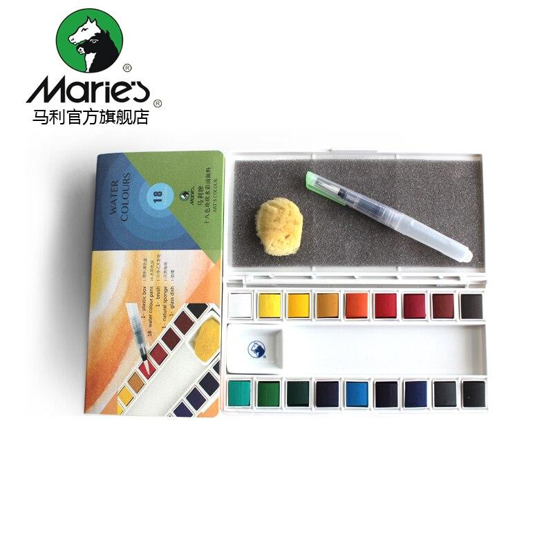 Marie s Official Authentic 36/18 Color Transparent Solid Watercolor Pigment Contains Watercolor Pens and SpongesMarie s Official Authentic 36/18 Color Transparent Solid Watercolor Pigment Contains Watercolor Pens and Sponges