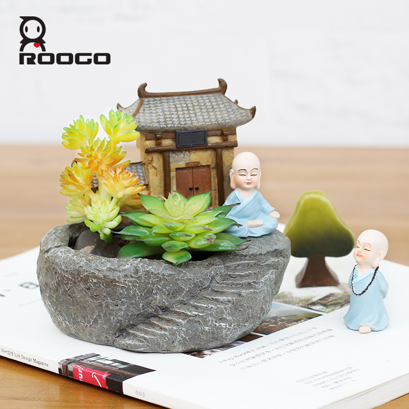 ROOGO стильная футболка с изображением персонажей видеоигр Zen декоративные вазы и сочные цветочный горшок плантатор Садовые принадлежности подарок для старейшина отец fengshui пункт