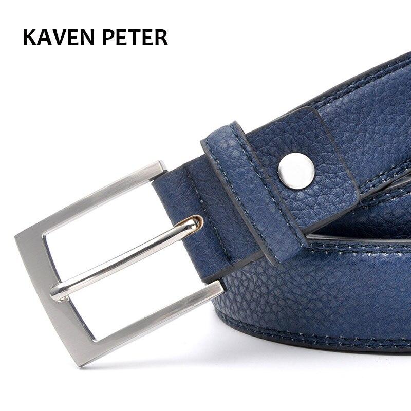 Modne dodatki trendy pasek do jeansów mężczyźni Cowskin niebieska sukienka z akcesoria do paska dla mężczyzn pas do spodni srebrny pas metalowy