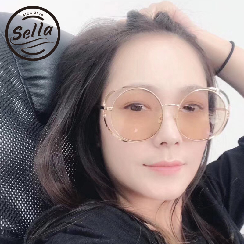 Sella New Women Oversized Round Sunglasses Fashion Ladies Mirror Coating Alloy Frame Hollow Out Sun Glasses Brand Designer